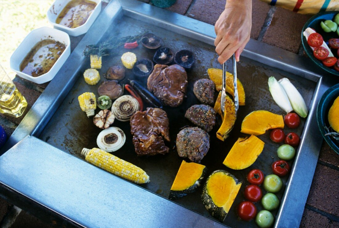 Meat and vegetables on Australian barbecue