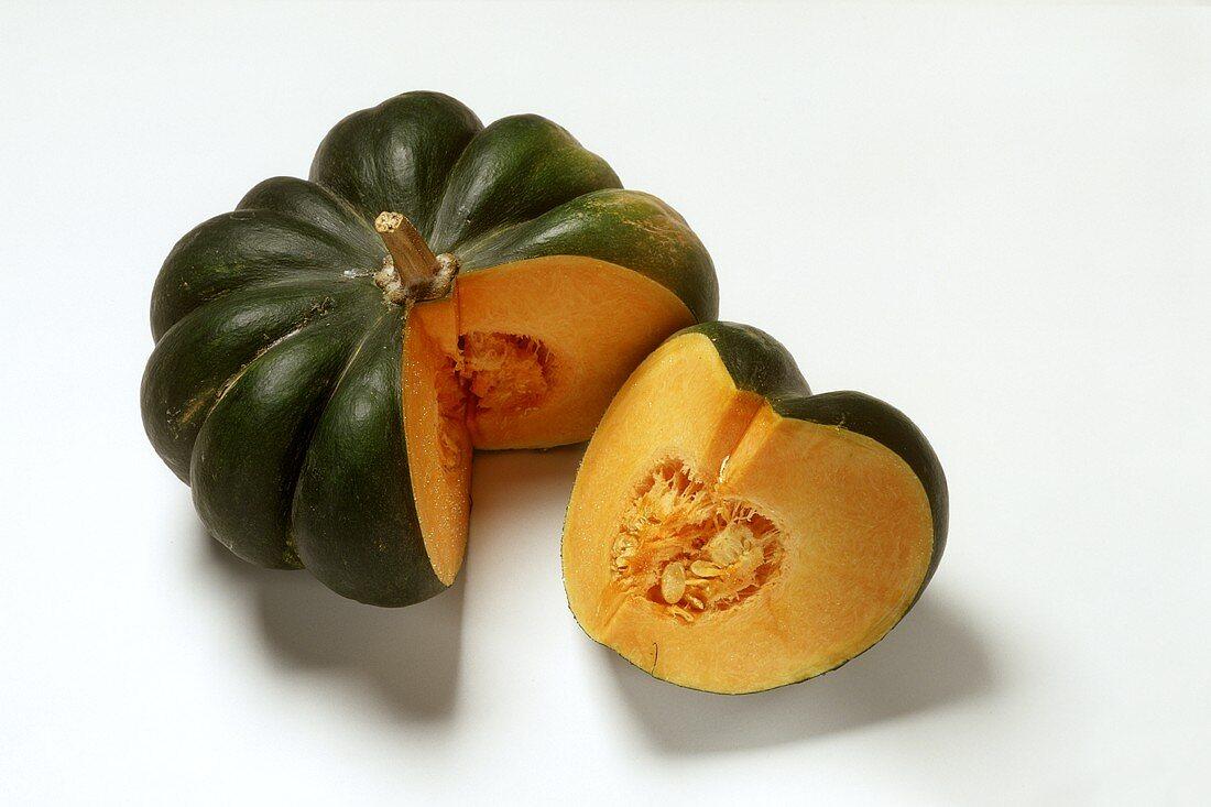 Green Japanese pumpkin, cut into