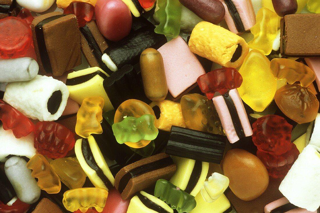 Mixed liquorice sweets with gummi bears