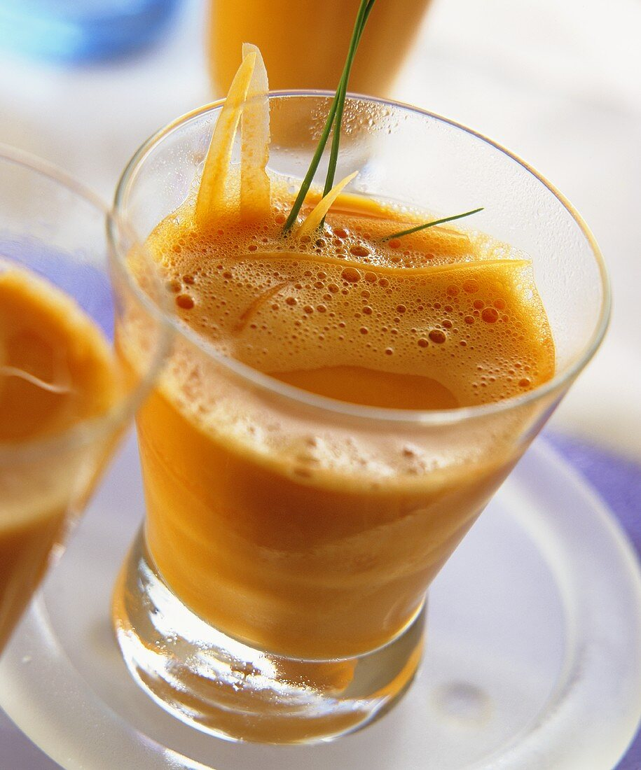 Carrot shake with fresh carrot strips