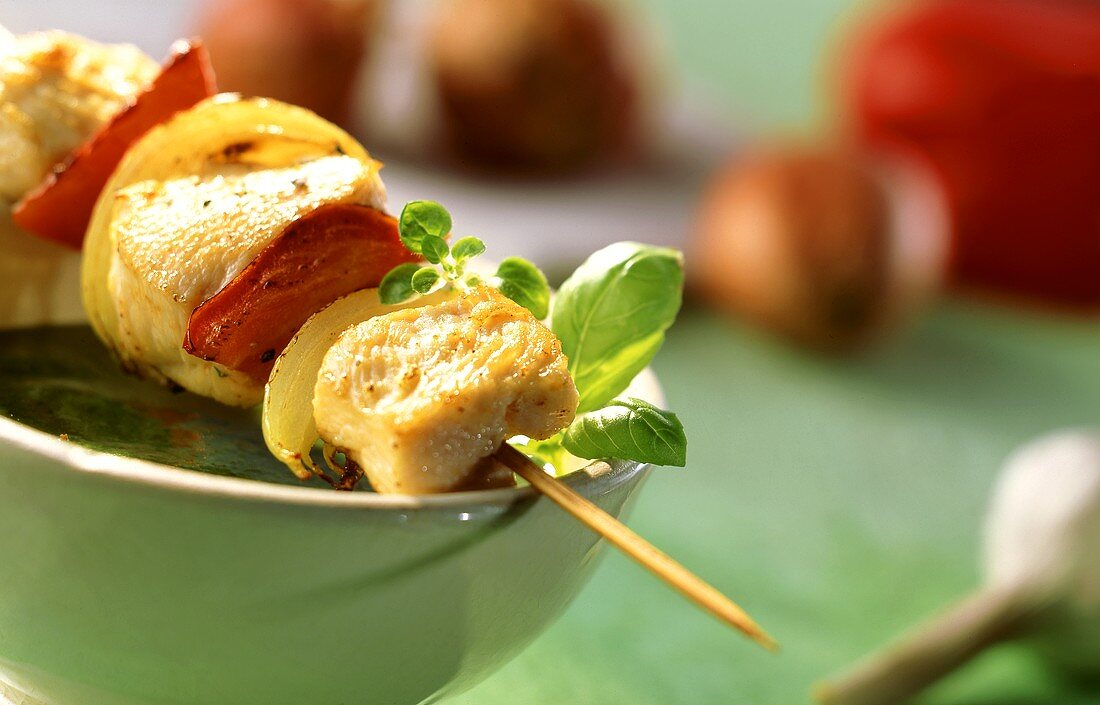 Meat and vegetable kebab on green bowl