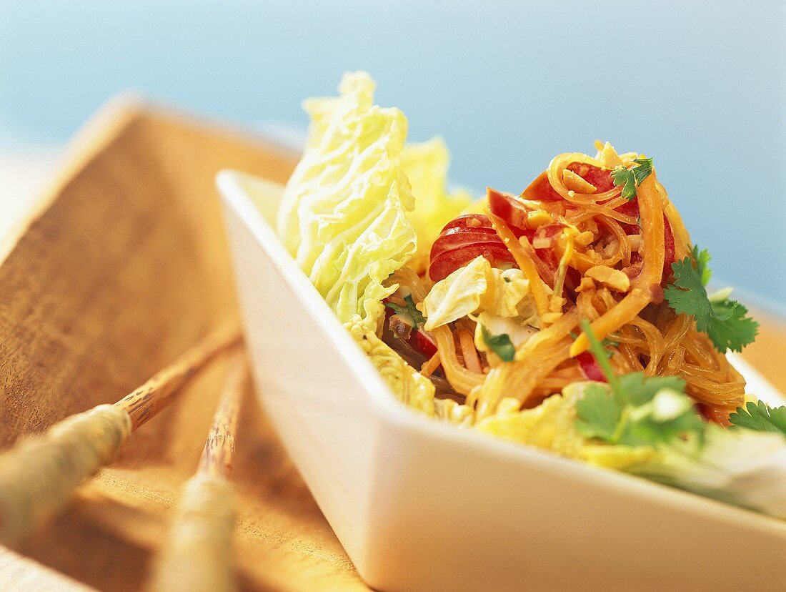 Glass noodle salad with peanuts, carrots & Chinese cabbage