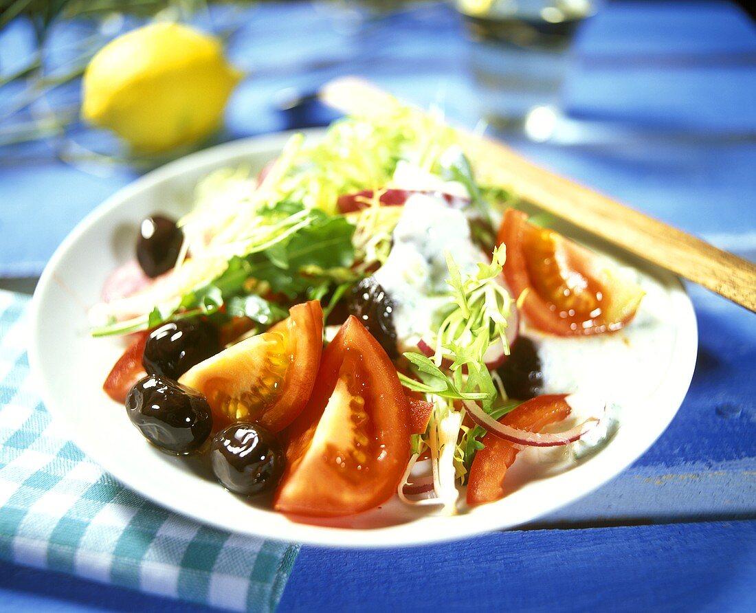 Greek vegetable salad with yoghurt dressing