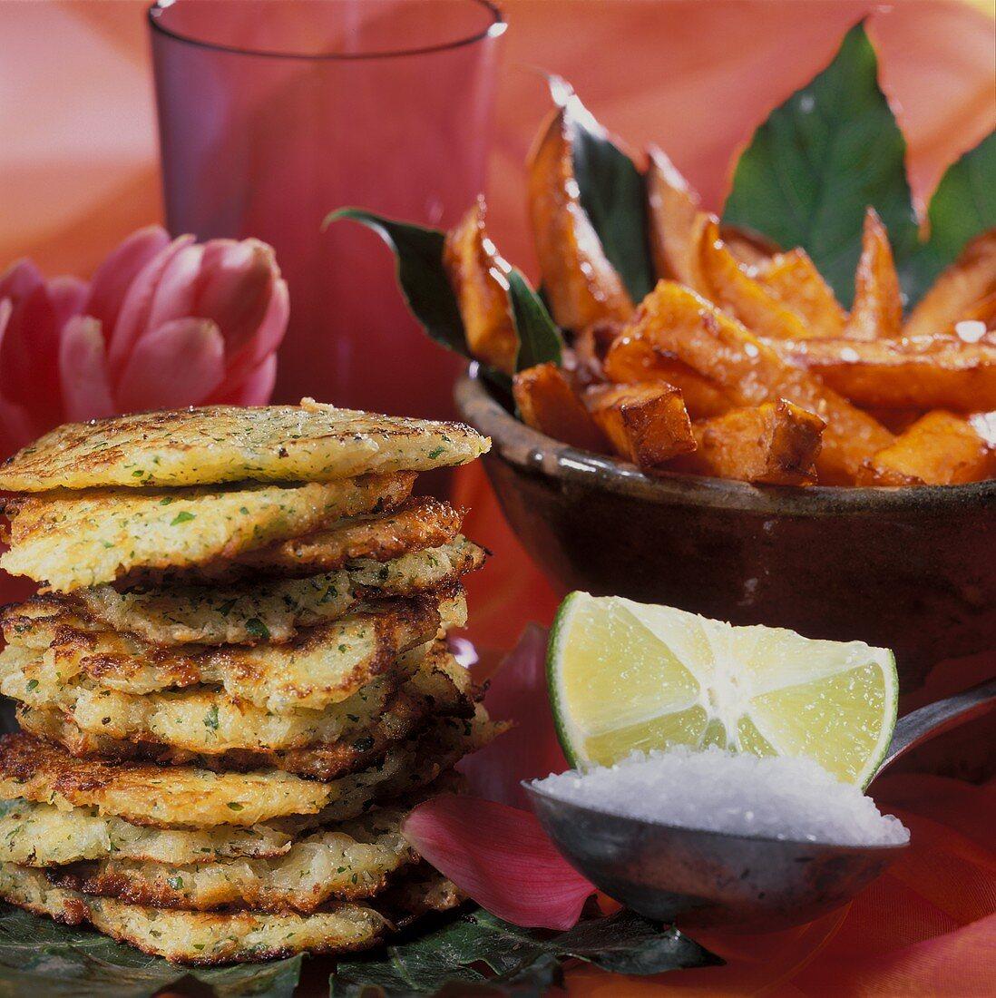 Deep-fried sweet potatoes and taro root rosti