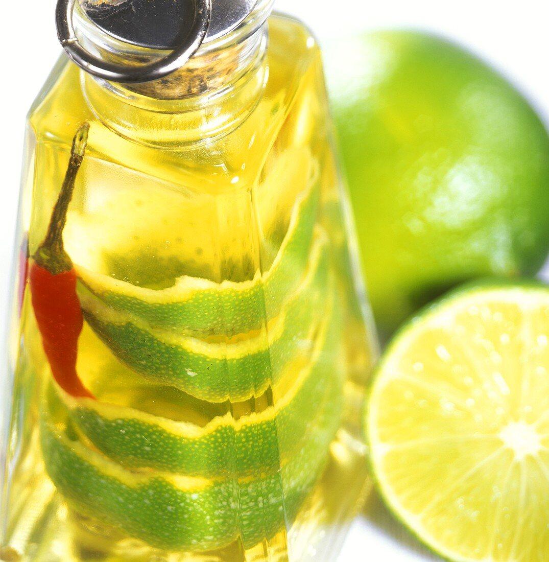 Home-made lime vinegar in bottle