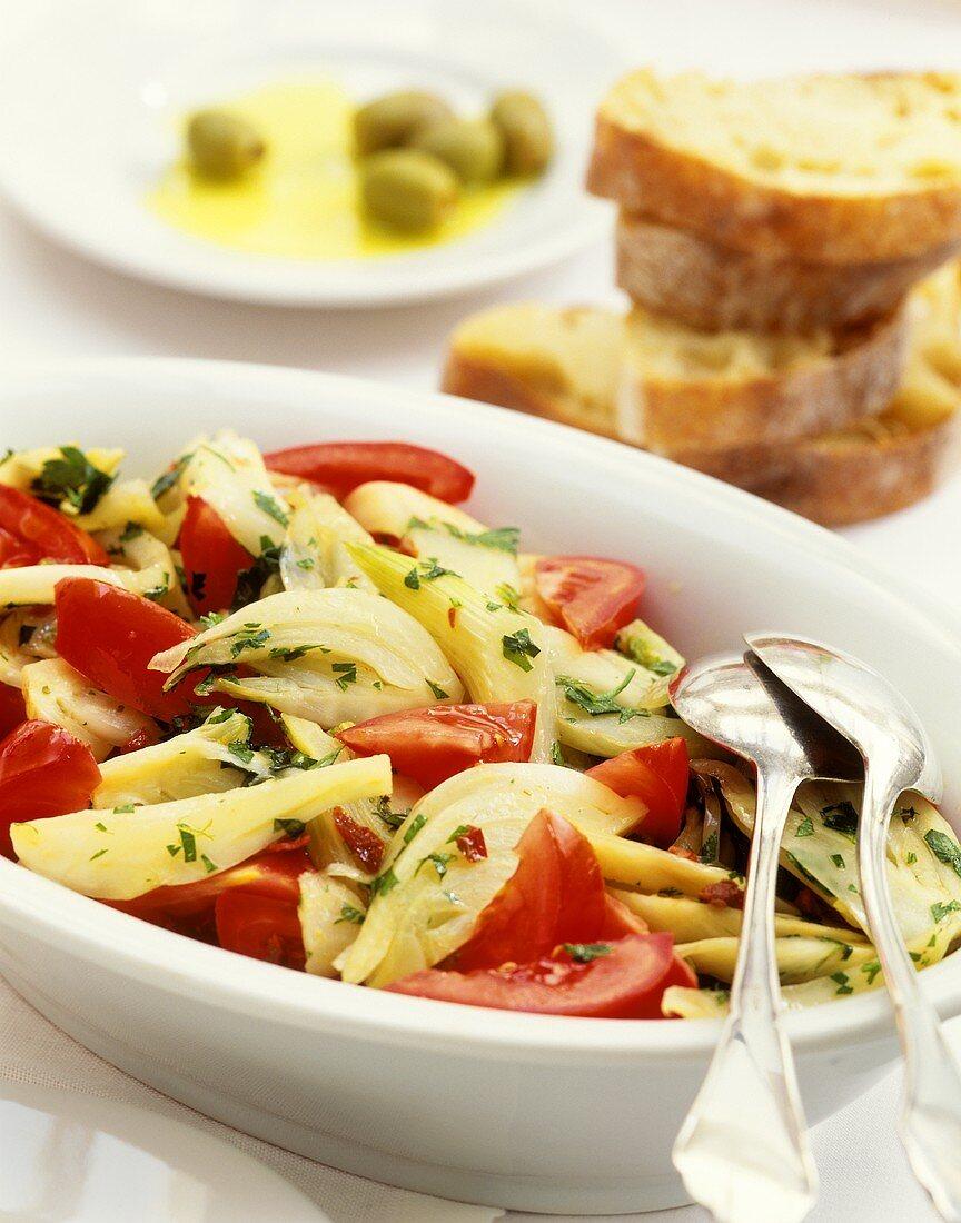 Insalata di finocchi e pomodori (fennel and tomato salad)