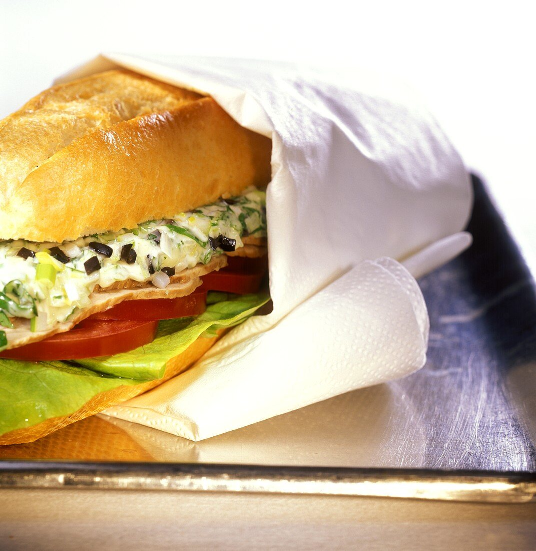 Panini all'arrosto (bread roll with roast meat & herb spread)
