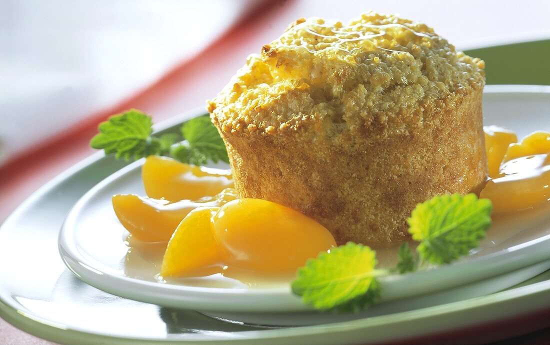 Millet souffle with apricots and lemon balm
