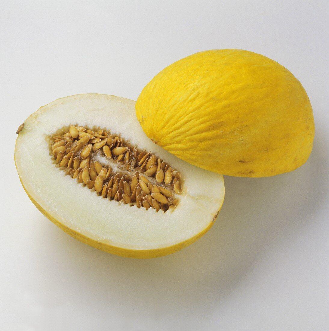 Honeydew melon, halved