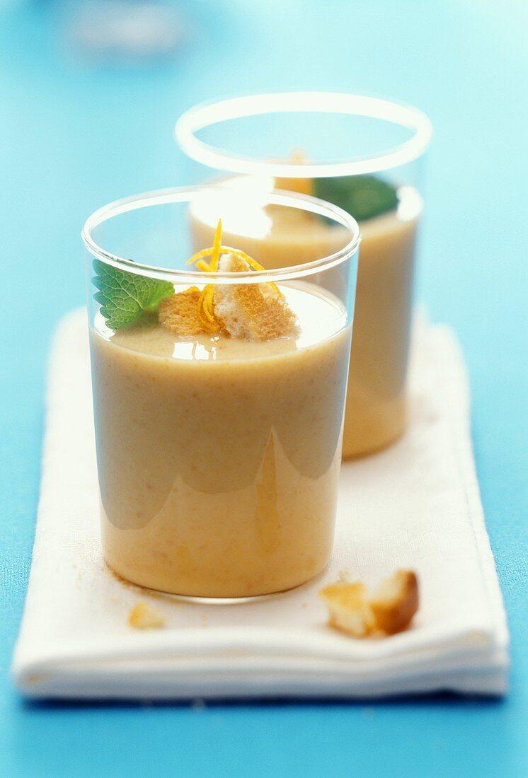 Buttermilk drink with orange, sea buckthorn & zwieback (rusk)