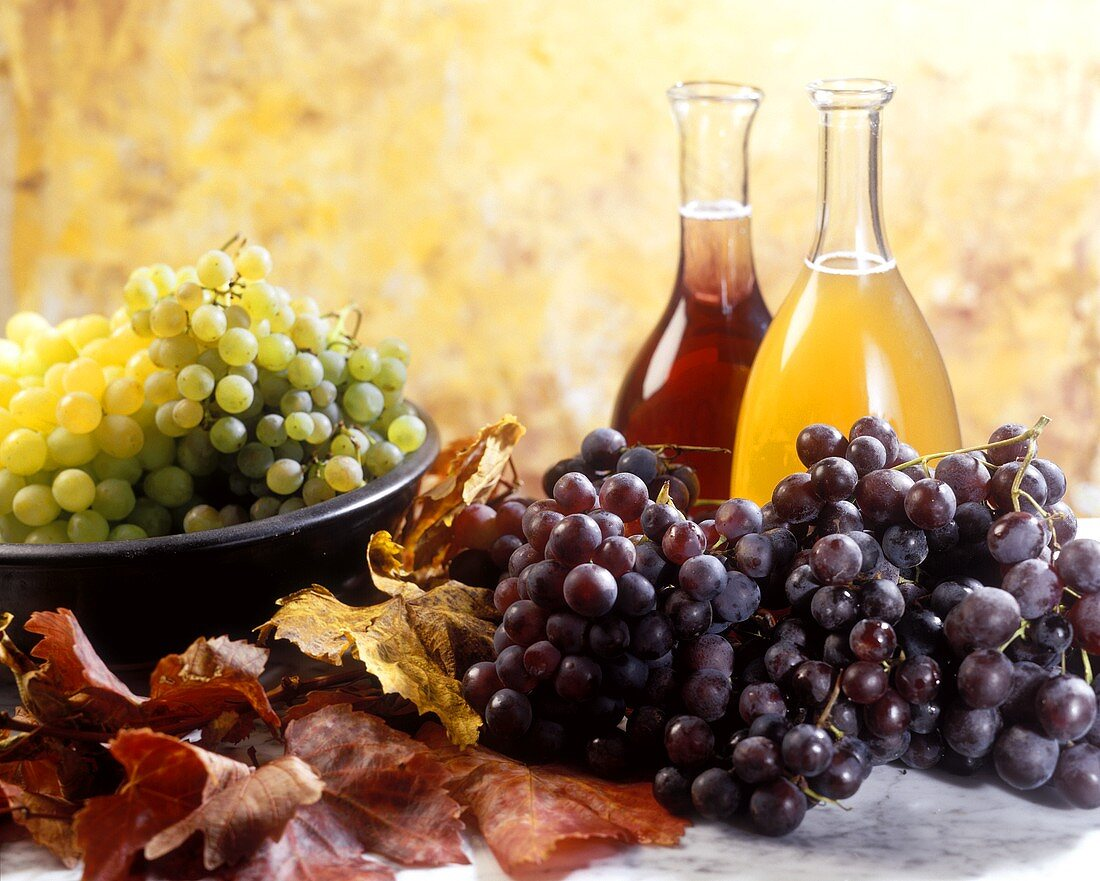 Autumn still life with grapes and grape must