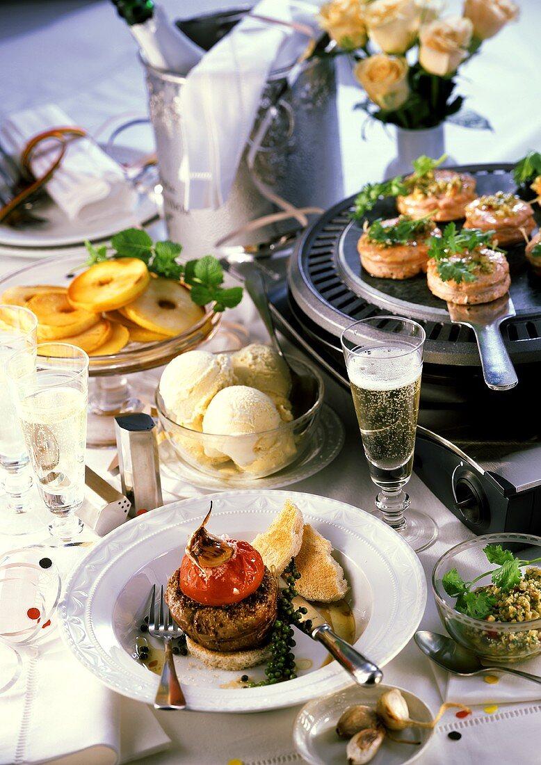 New Year's Eve menu: salmon, beef, cinnamon apple, ice cream