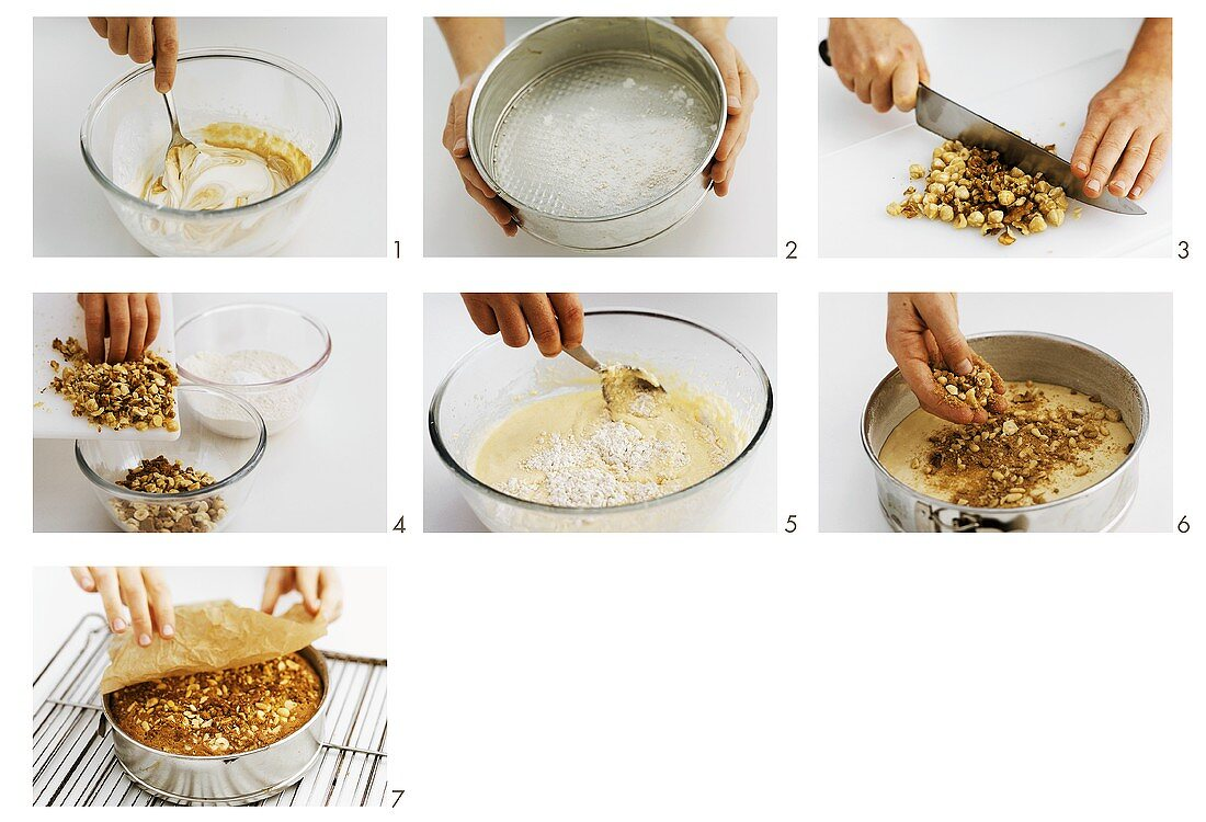 Making sour cream cake with nuts