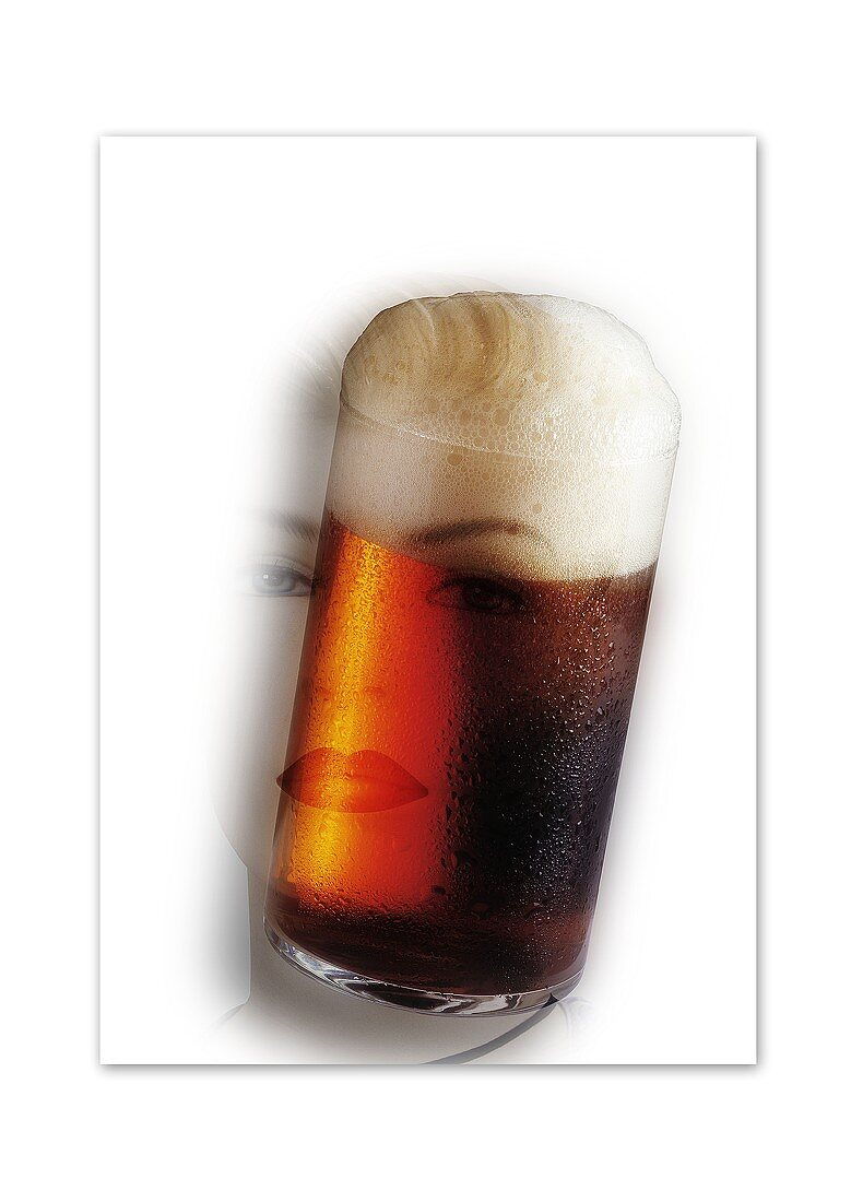 Altbier dream: glass of Altbier merged with woman's face