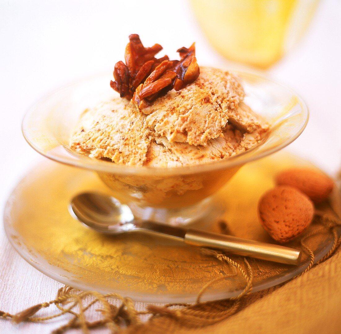 Almond amaretto ice cream in dessert bowl