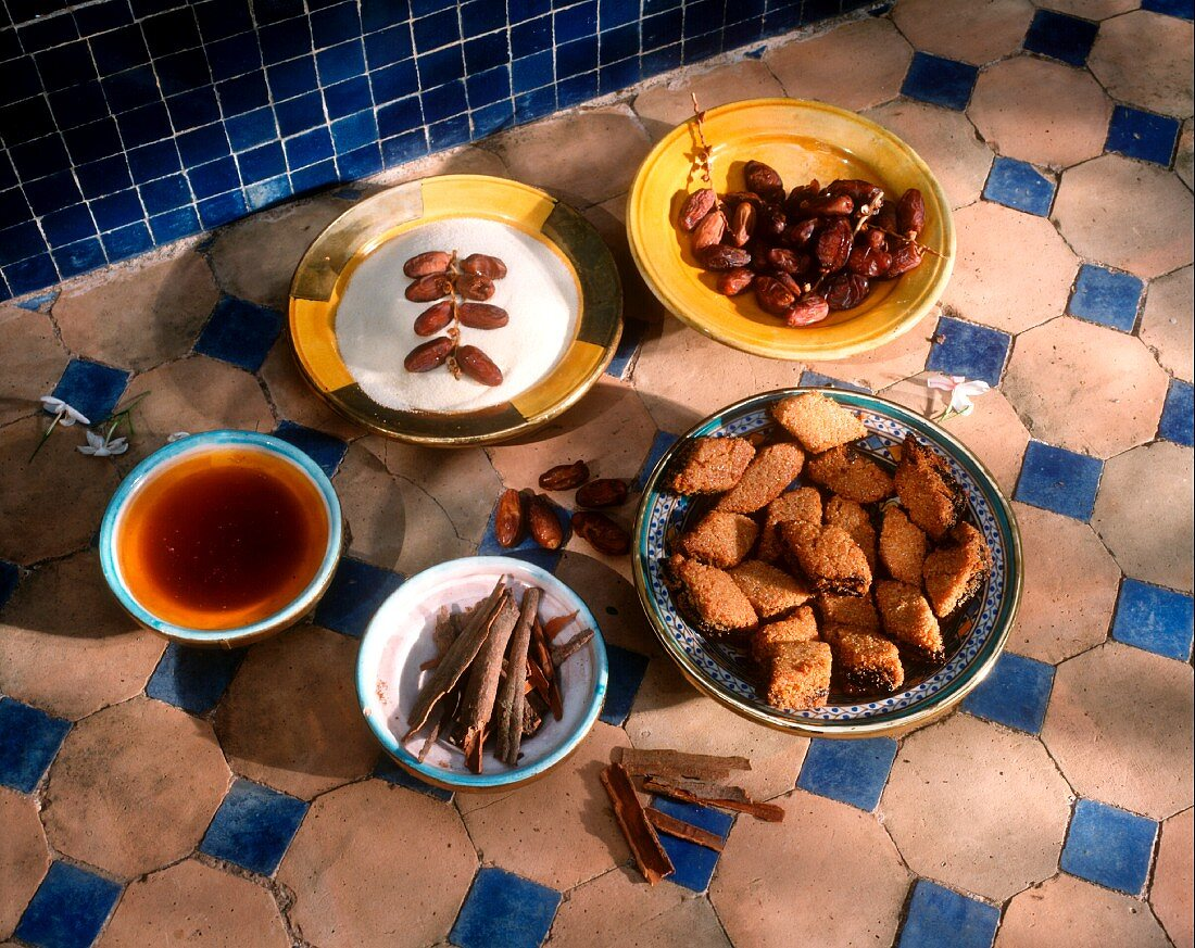 Moroccan date pastries with ingredients