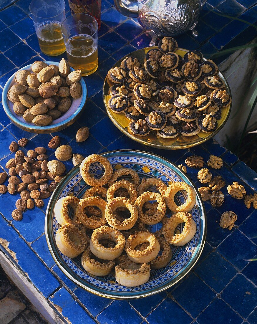 Moroccan walnut biscuits and date rings