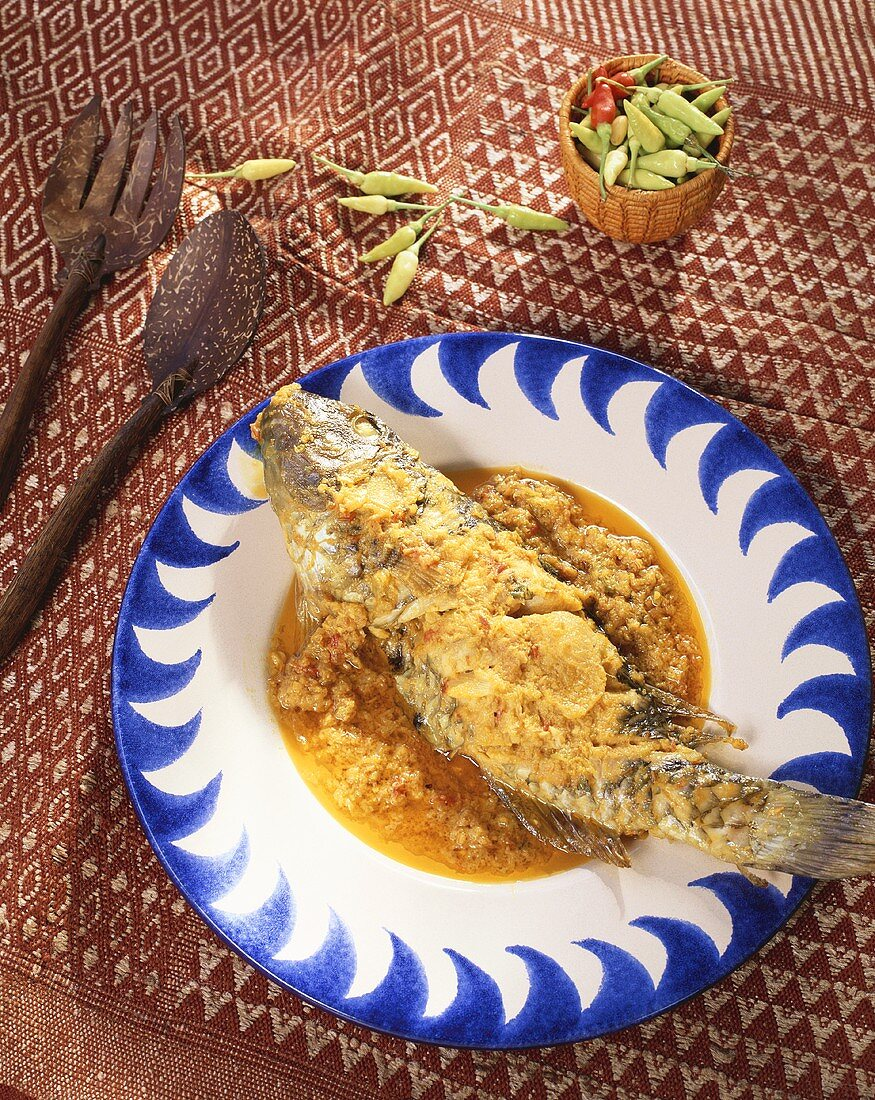 Grilled fish with spicy Creole sauce