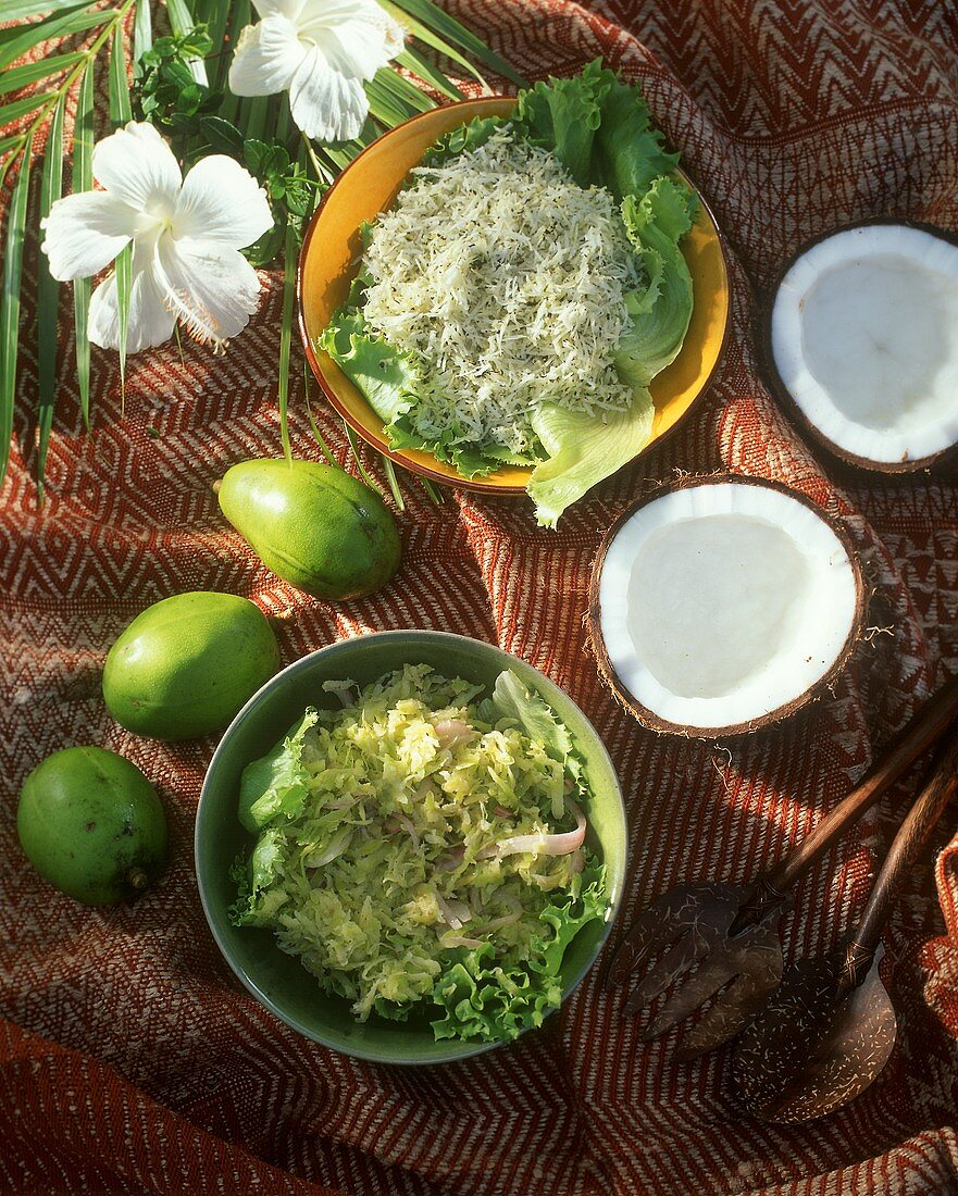 Chutneys with coconut and ambarellas from the Seychelles