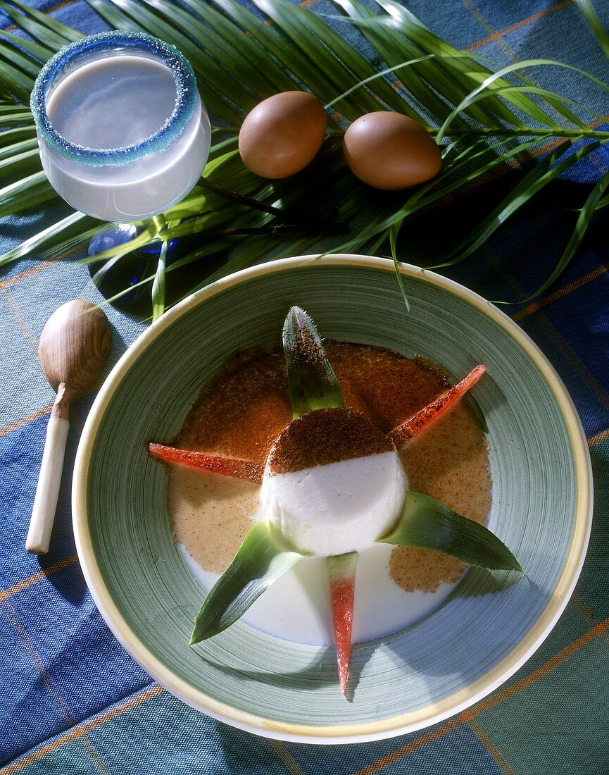 Coconut pudding in coconut milk from the Antilles