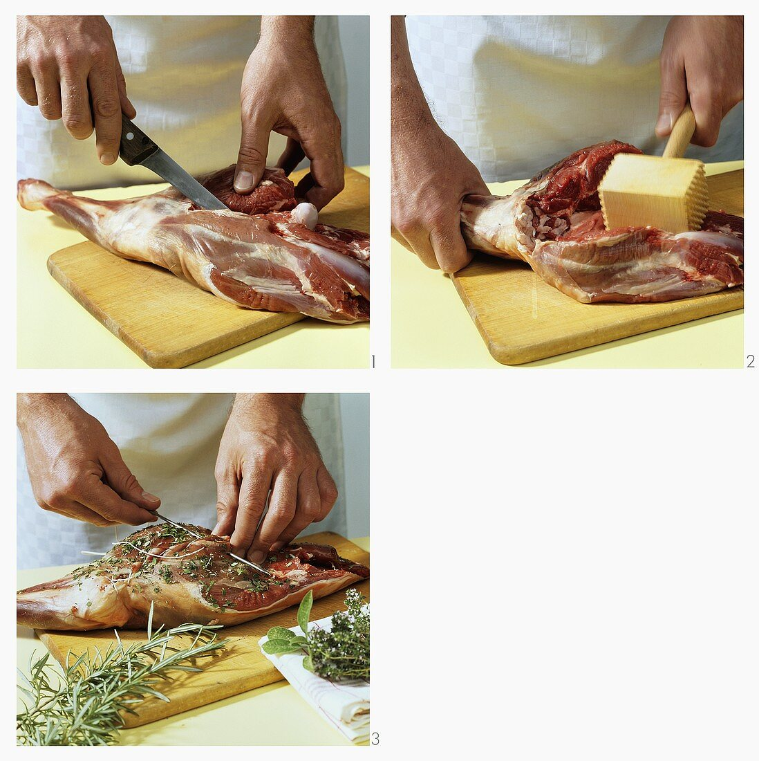 Preparing leg of lamb