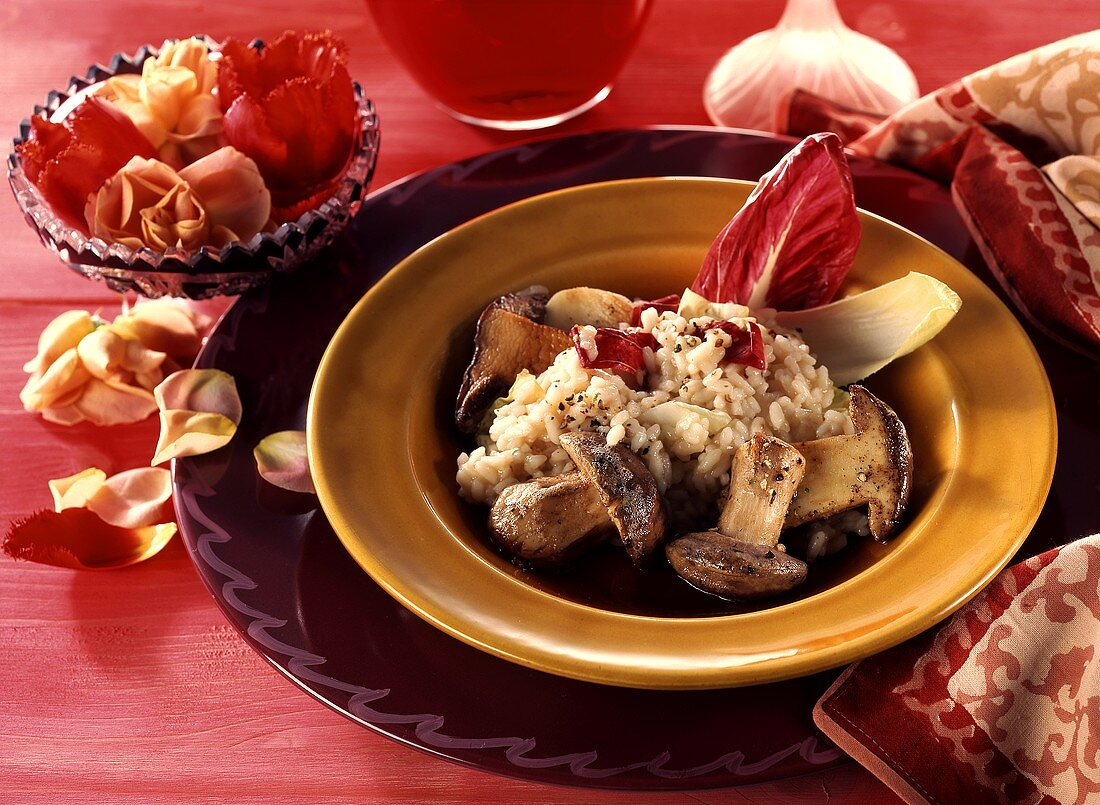 Risotto con indivia e porcini (Chicory and cep risotto)