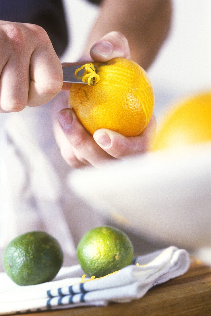 Cutting orange zest