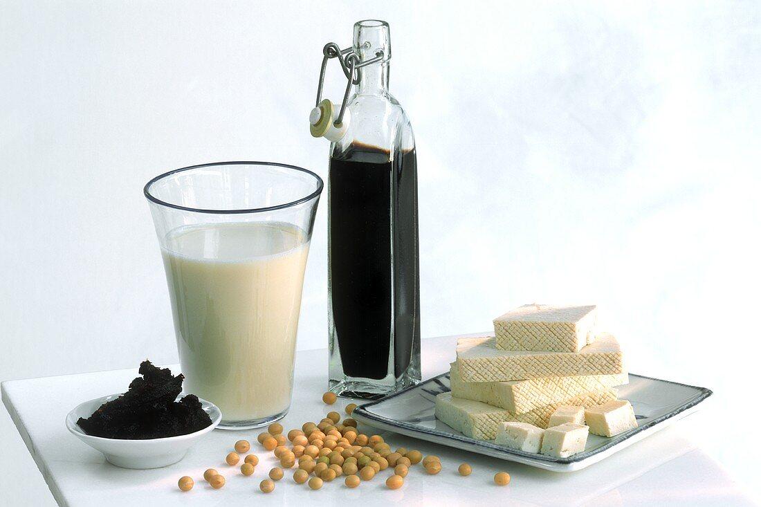 Various soya products (tofu, miso, soya milk, soy sauce)