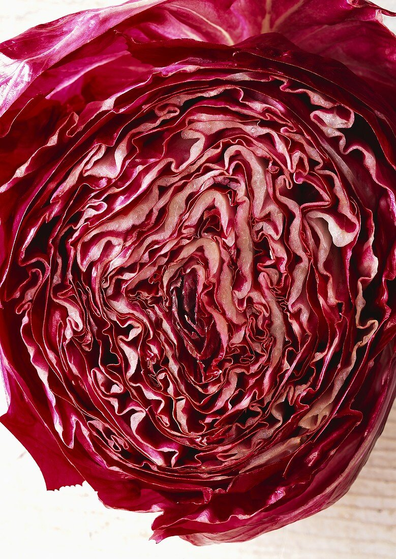 Red cabbage, halved