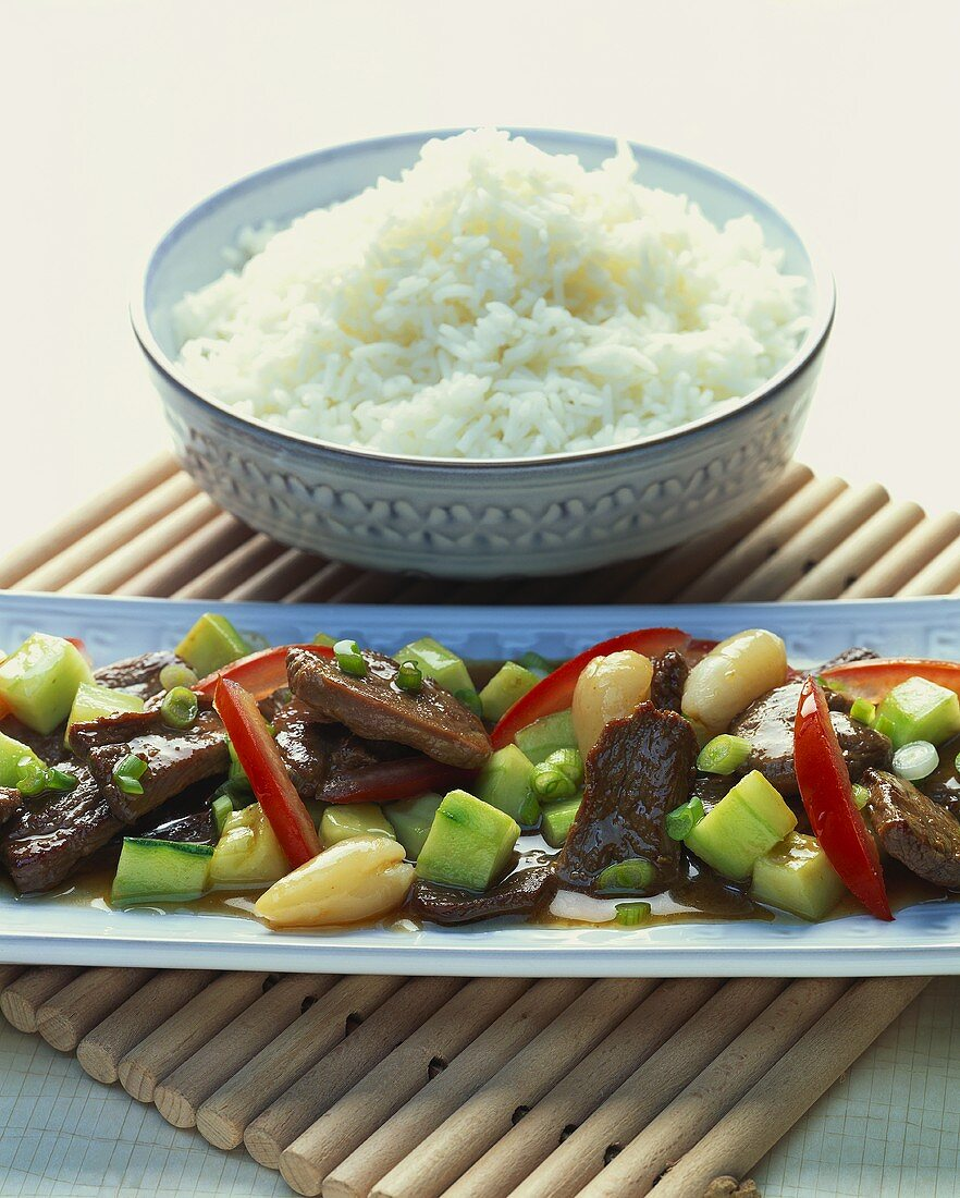 Asian style duck ragout with rice