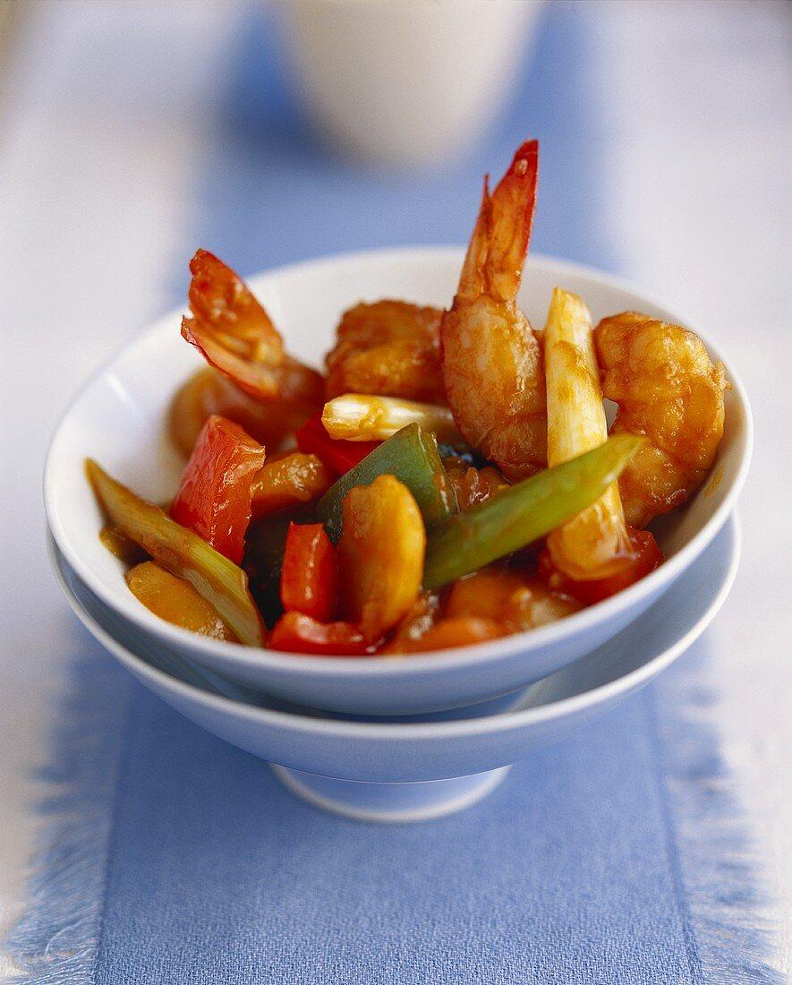 Sweet and sour jumbo prawns