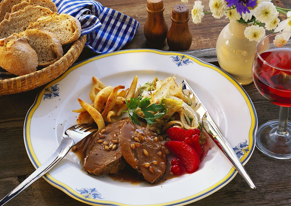 Braised pickled lamb with potato noodles & red wine apples