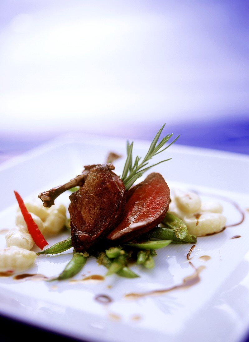 Pigeon with curried beans and coconut gnocchi