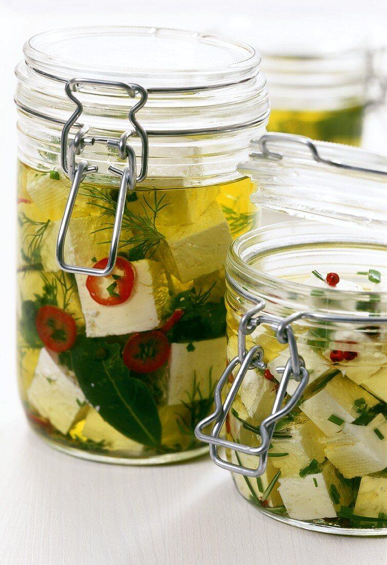 Pickled feta in olive oil
