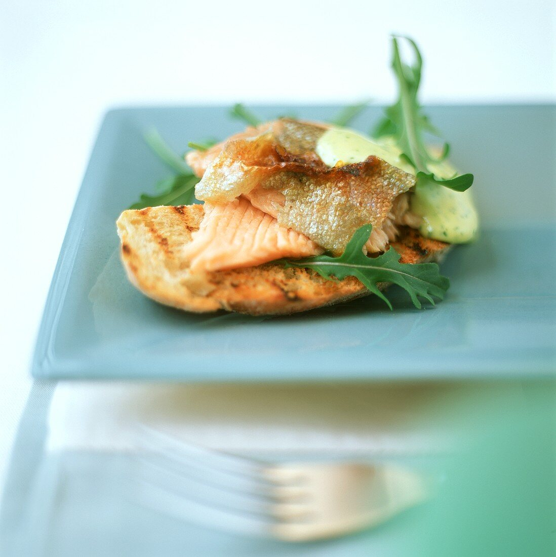 Salmon trout with rocket sauce on toasted ciabatta