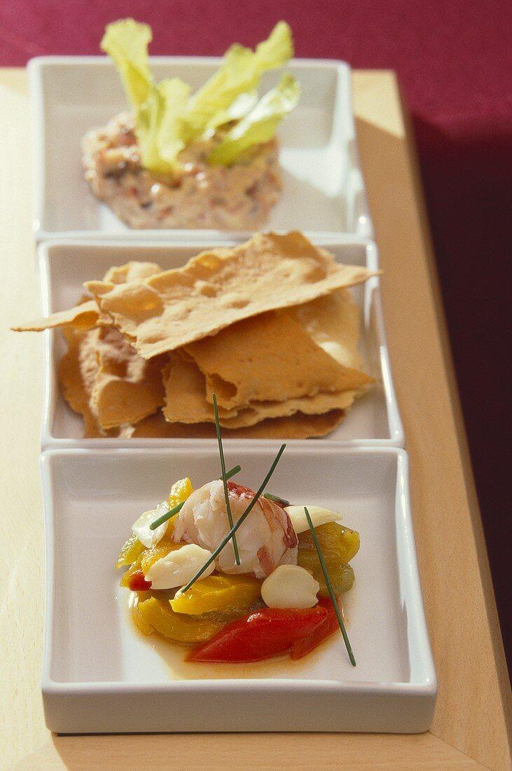 Appetiser platter with shellfish dish