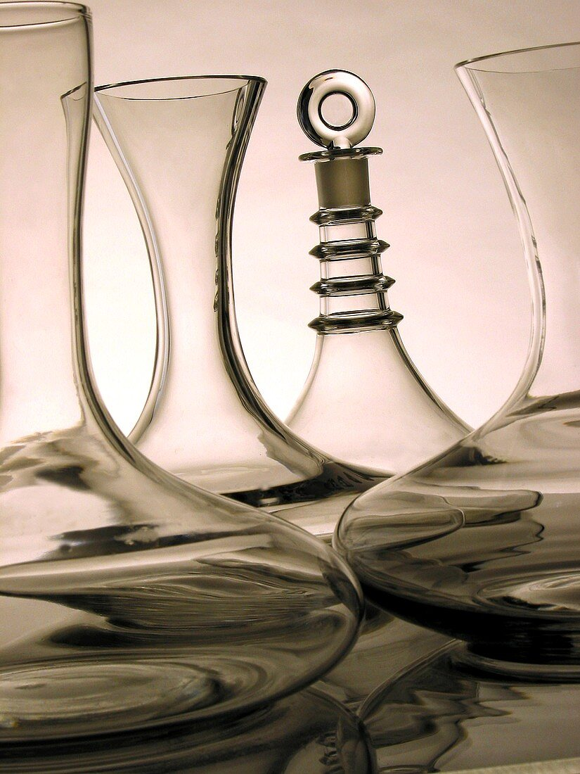 Four different wine carafes