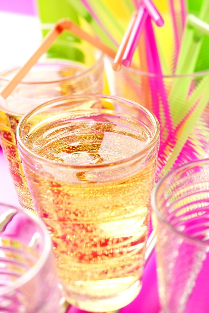 Party drinks and coloured straws