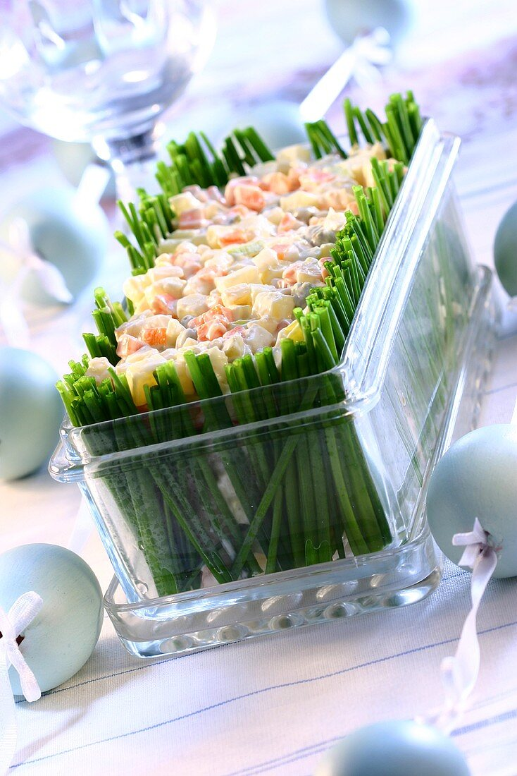 Vegetable salad with chives for Easter