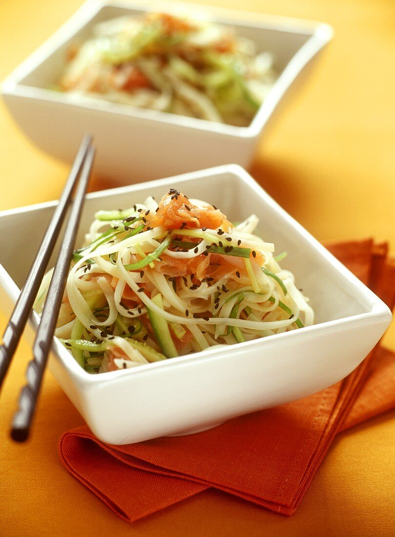 Japanese noodle salad with salmon