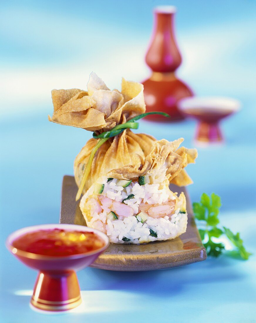 Strudel purses with shrimp and rice filling