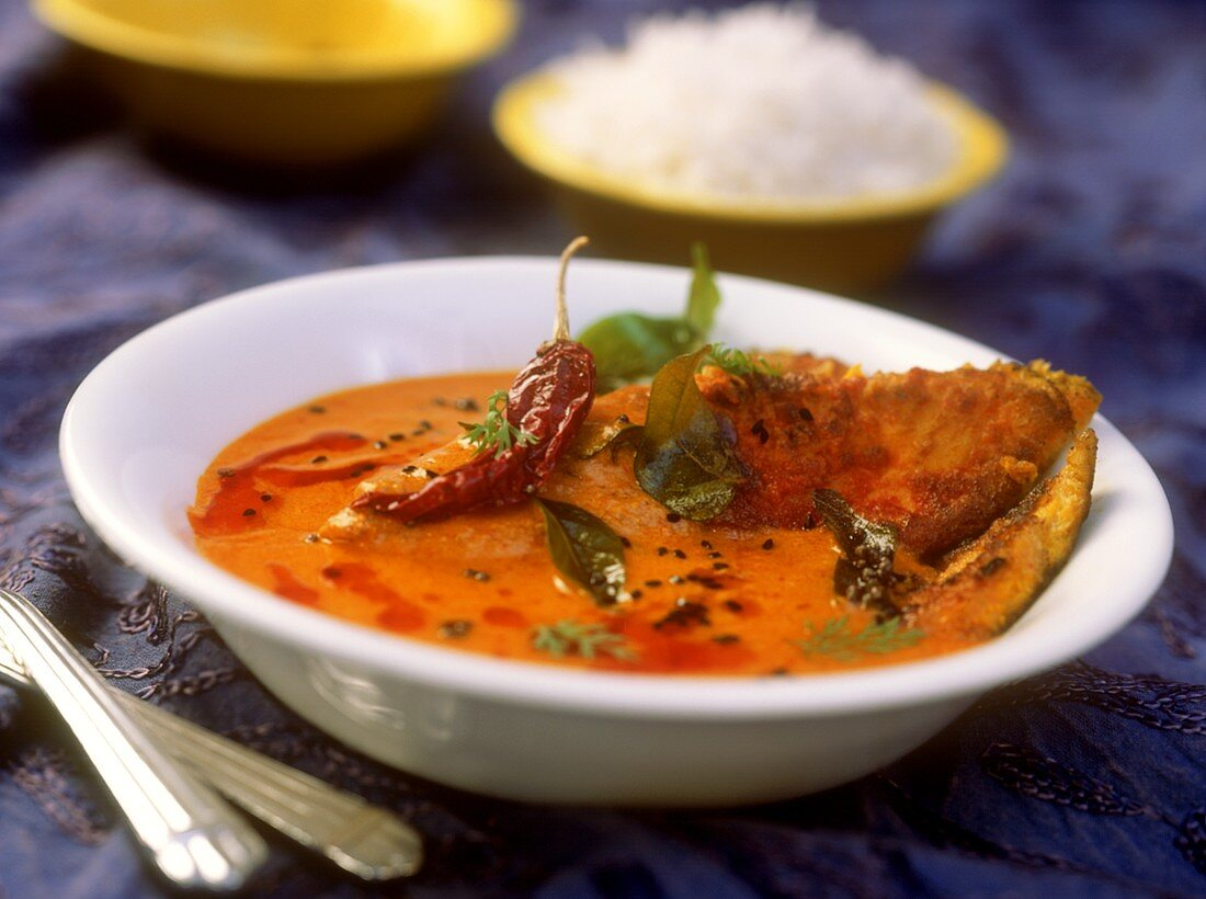 Sarson macchi (fish curry with rice, West Bengal, India)