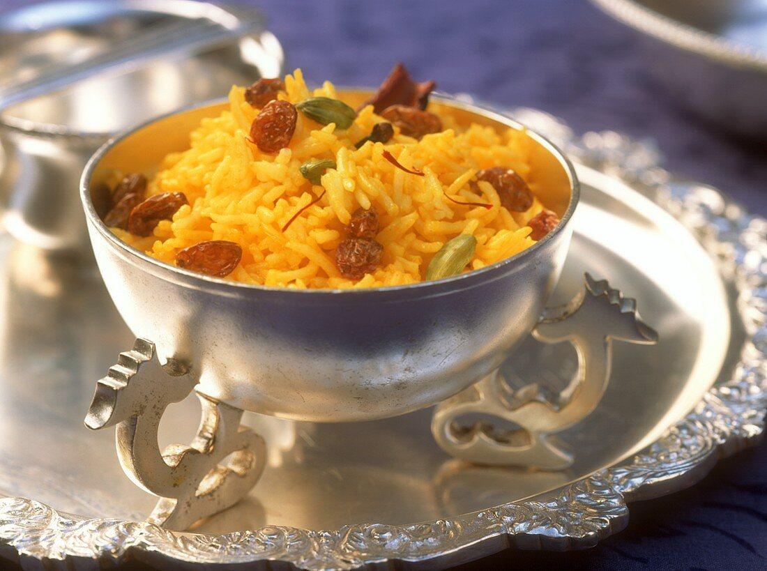 Kesar bhaat (sweet saffron rice), Maharashtra, India