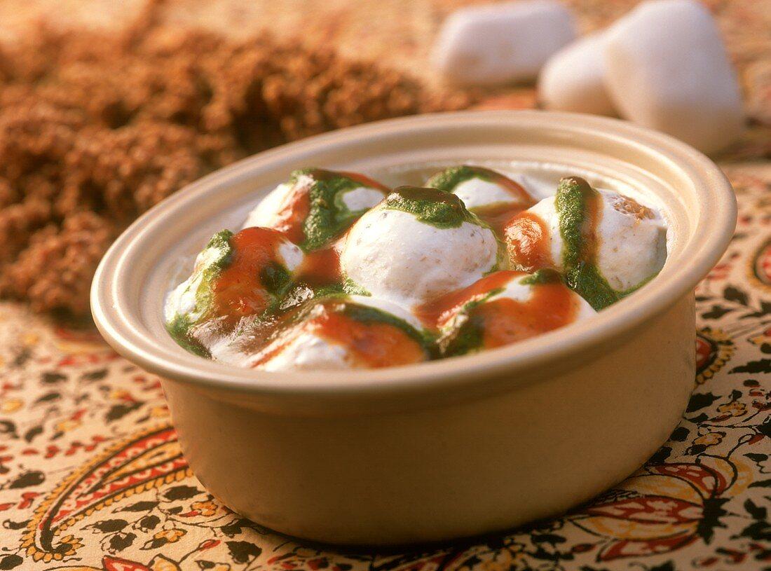 Aloo dum (spicy potatoes in yoghurt sauce, India)