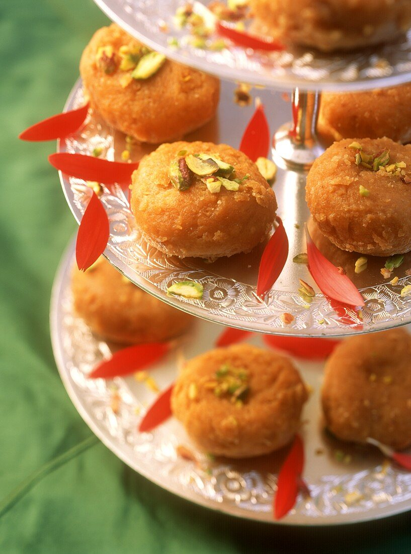 Balushahi (sweet cakes with pistachios) Uttar Pradesh, India