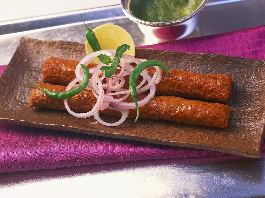 Kakori kabab (spicy minced lamb rolls for barbecuing, India)