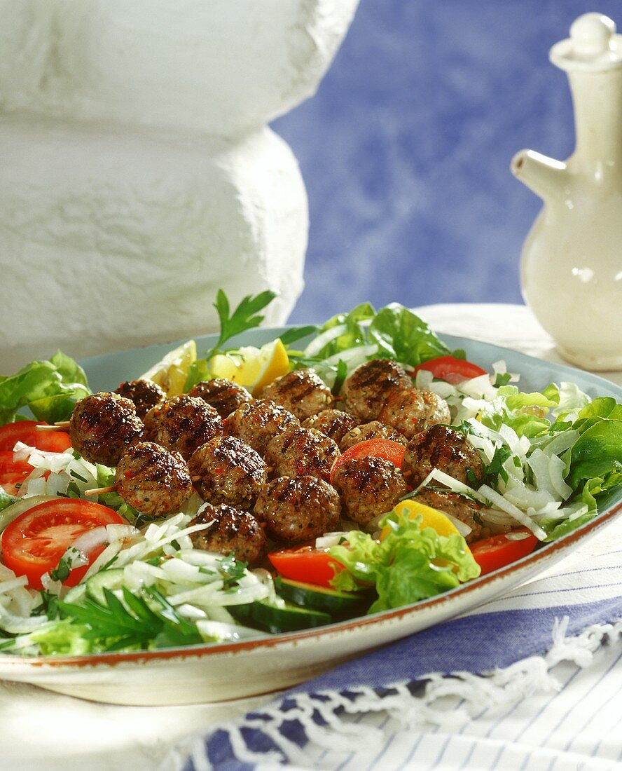Barbecued lamb kebabs from Greece