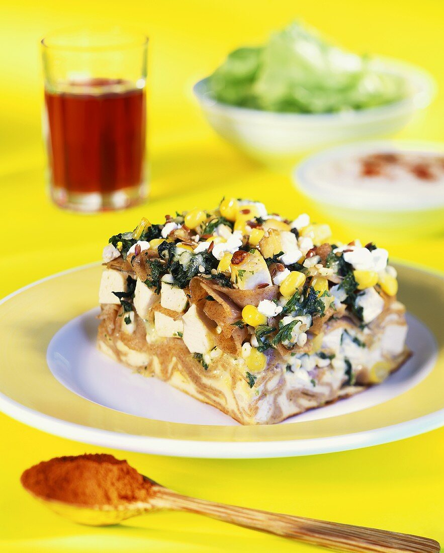 Tofu and noodle bake with chard and sweetcorn