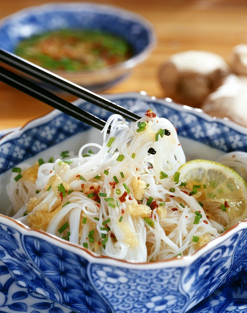 Rice noodle salad with sweet and sour ginger dressing