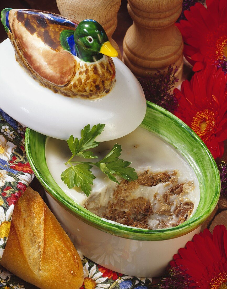 Duck rillettes in earthenware pot